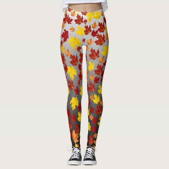 Leggings with Coloured from fall leaves over