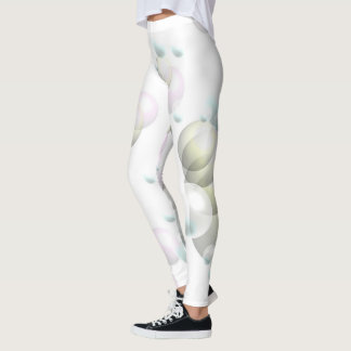 Leggings with Gray Pink Green Bubbles Yoga