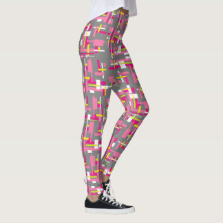 "Leggings with ""Grey and Pink Blocks"" design"