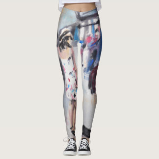 Leggings with painting of a girl at a station