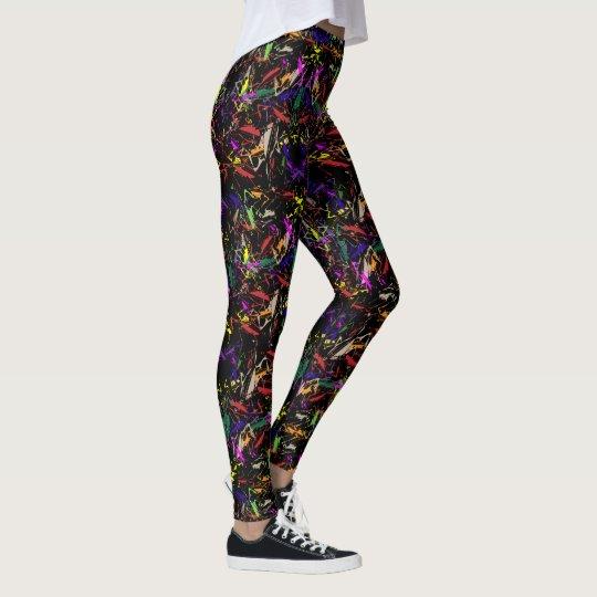 """Leggings with """"Praying Mantis Amok Black """" design"""