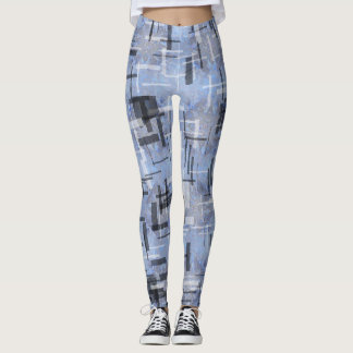 Leggings with strokes of Blues and grays