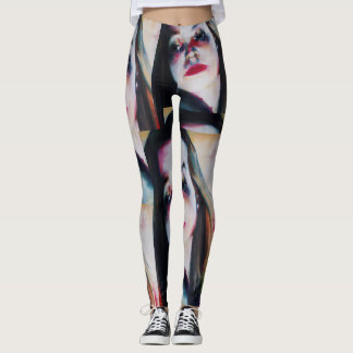 leggings with the painting of a girl