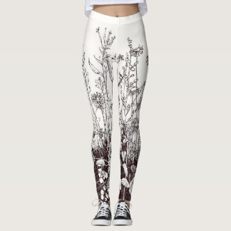 Leggings with Wildflower Print in Brown