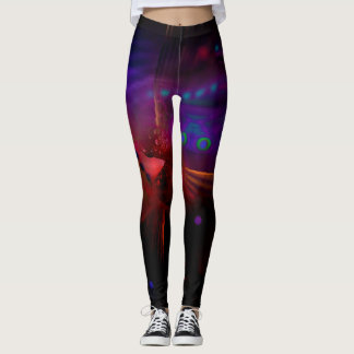 Leggings with Wrapped Digital Abstract Red Peacock