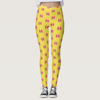 Leggings yellow with bows fucsia, strong rose