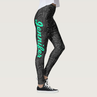 Leggings YOUR NAME Black Paisley Exercise Pants