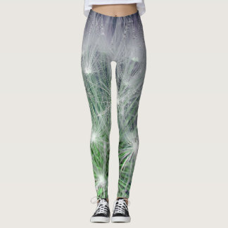 Leggins green and white floral pattern leggings