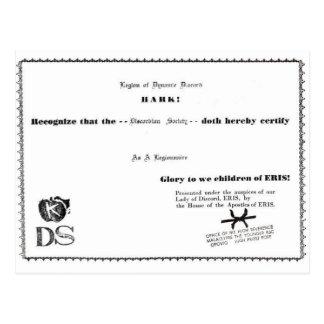 legionnaire certificate postcard