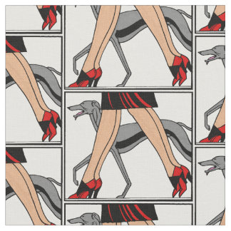 Legs Art Deco Women Greyhound Whippet Dog R Fabric