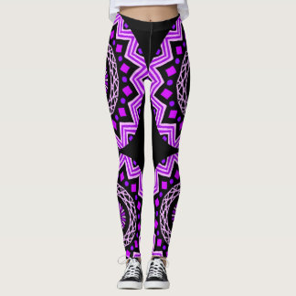 Legs wrapped in purple mandalas. leggings