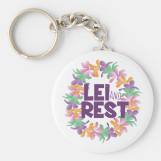 Lei And Rest Basic Round Button Keychain