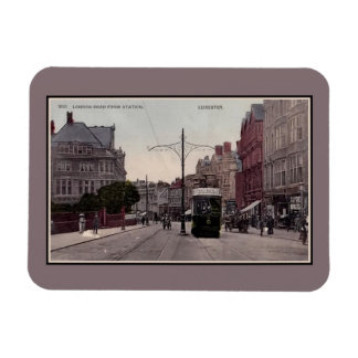 Leicester London Road from station, tram, 1890s Rectangular Photo Magnet