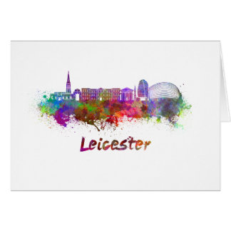 Leicester skyline in watercolor card