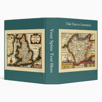 Leicestershire County Map, England 3 Ring Binders