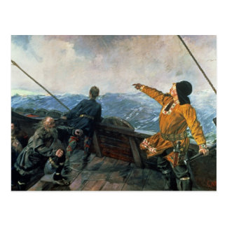 Leif Eriksson  sights land in America, 1893 Postcard