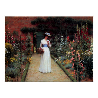 Leighton Lady in a Garden Poster