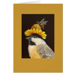Leila the chickadee with bee and flower hat card