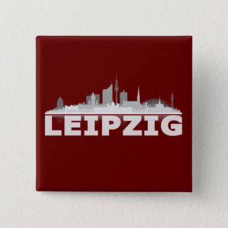 Leipzig town center of skyline - 2 inch square button