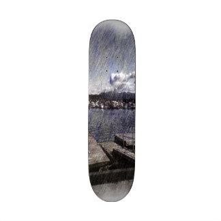 Leirvik harbor with boat skate boards