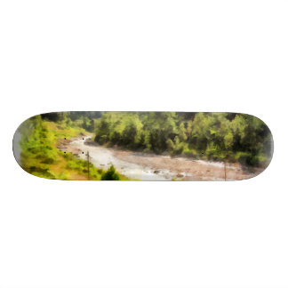 Leisurely flow of river through greenery skate board