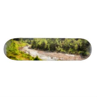 Leisurely flow of river through greenery skate board deck