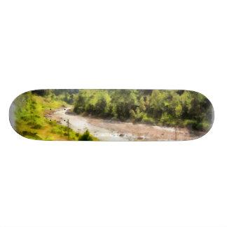 Leisurely flow of river through greenery skate decks