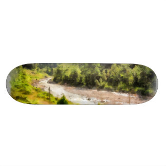 Leisurely flow of river through greenery custom skate board