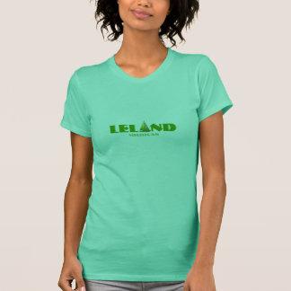 Leland Michigan - with green sailboat icon T-Shirt