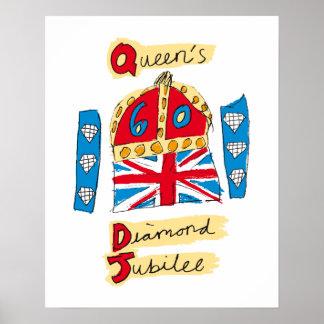 L'emblème de jubilé de diamant de la Reine Poster