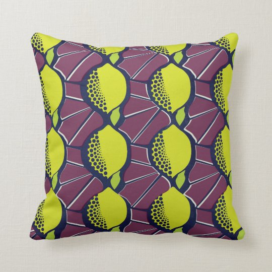 Lemon African Wax Style Print Throw Pillow