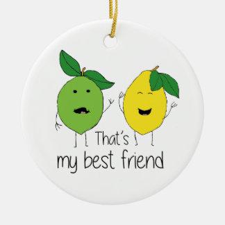 Lemon and Lime Best Friends Ceramic Ornament