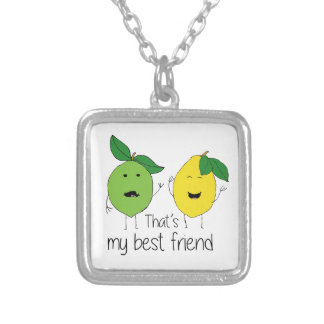 Lemon and Lime Best Friends Silver Plated Necklace