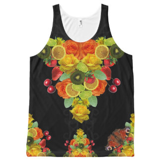 Lemon and Lime Fruit Print Floral All-Over-Print Tank Top
