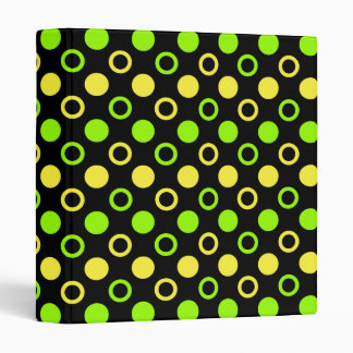 Lemon and Lime Rings and Polka Dots by STaylor 3 Ring Binder