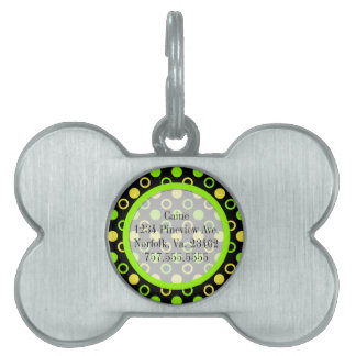 Lemon and Lime Rings and Polka Dots by STaylor Pet Name Tag