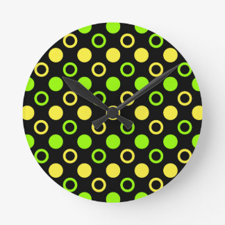 Lemon and Lime Rings and Polka Dots by STaylor Round Clock