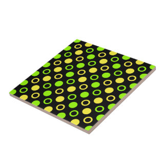 Lemon and Lime Rings and Polka Dots by STaylor Tile