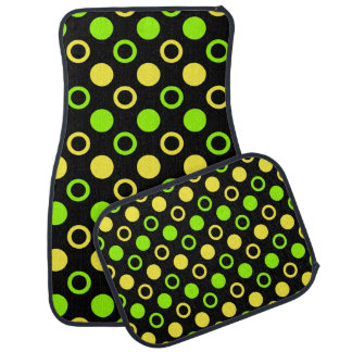Lemon And Lime Rings And Polka Dots STaylor Car Mat