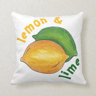 Lemon and Lime Tart Sour Citrus Fruit Foodie Throw Pillow