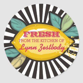 Lemon branch groovy rays chef catering bakery round sticker