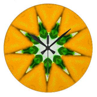 Lemon Burst Fractal Large Clock