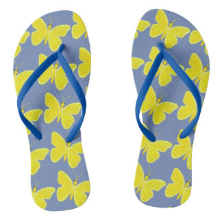 Lemon Butterfly Flip Flops