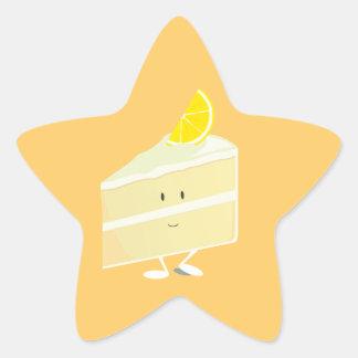 Lemon cake slice character star sticker