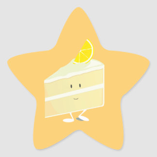 Lemon cake slice character star stickers
