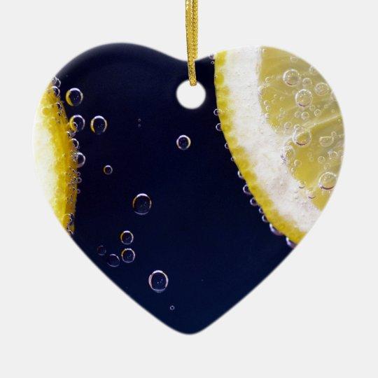 Lemon Ceramic Heart Ornament