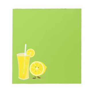 Lemon character standing next to lemonade notepad