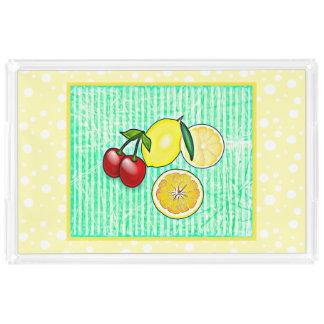 Lemon, Cherries, Oranges Kitchen Food Serving Tray