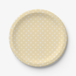Lemon chiffon yellow polka dots paper plate