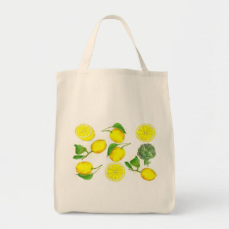Lemon Citrus Fruit Watercolor Painting Art Tote Bag